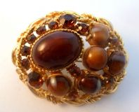 Vintage Faux Agate And Smoky Topaz Rhinestone Brooch By Sphinx